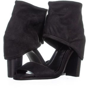 BCBGeneration Black Wrap Around Thick Ankle Heels